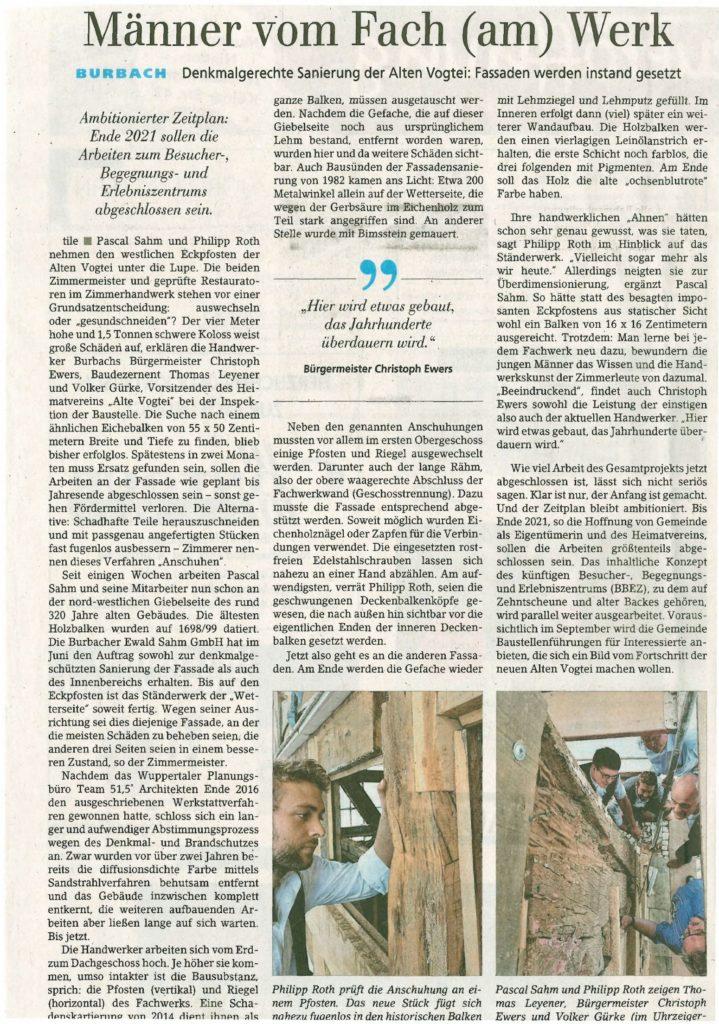 2020-08-14 Restaurierung Fassade SZ Bericht